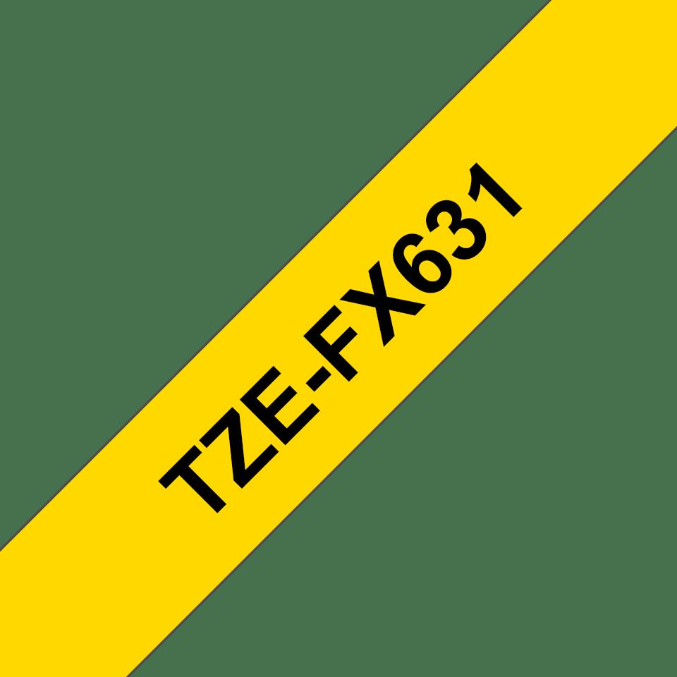 Originální kazeta s páskou Brother TZe-FX631 - černý tisk na žluté, šířka 12 mm 3