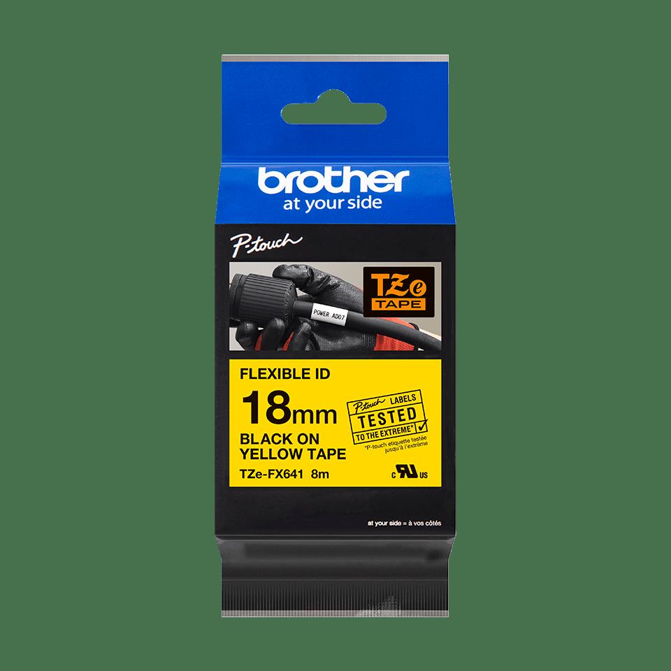 Originální kazeta s páskou Brother TZe-FX641 - černý tisk na žluté, šířka 18 mm 2