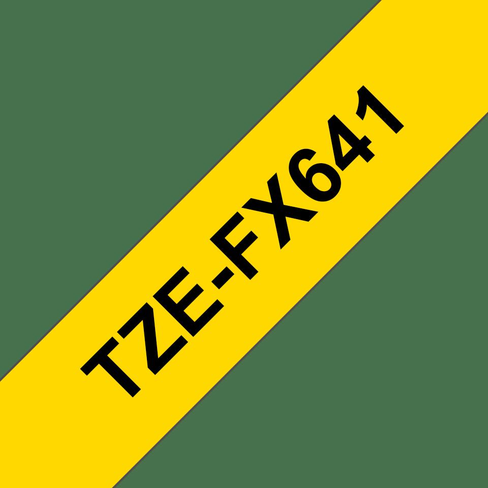 Originální kazeta s páskou Brother TZe-FX641 - černý tisk na žluté, šířka 18 mm