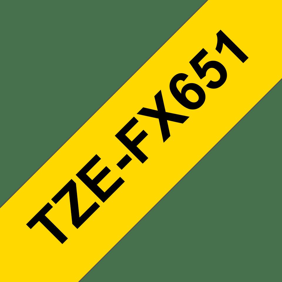 Originální flexibilní ID páska Brother TZe-FX651 - černý tisk na žluté, šířka 24 mm 3