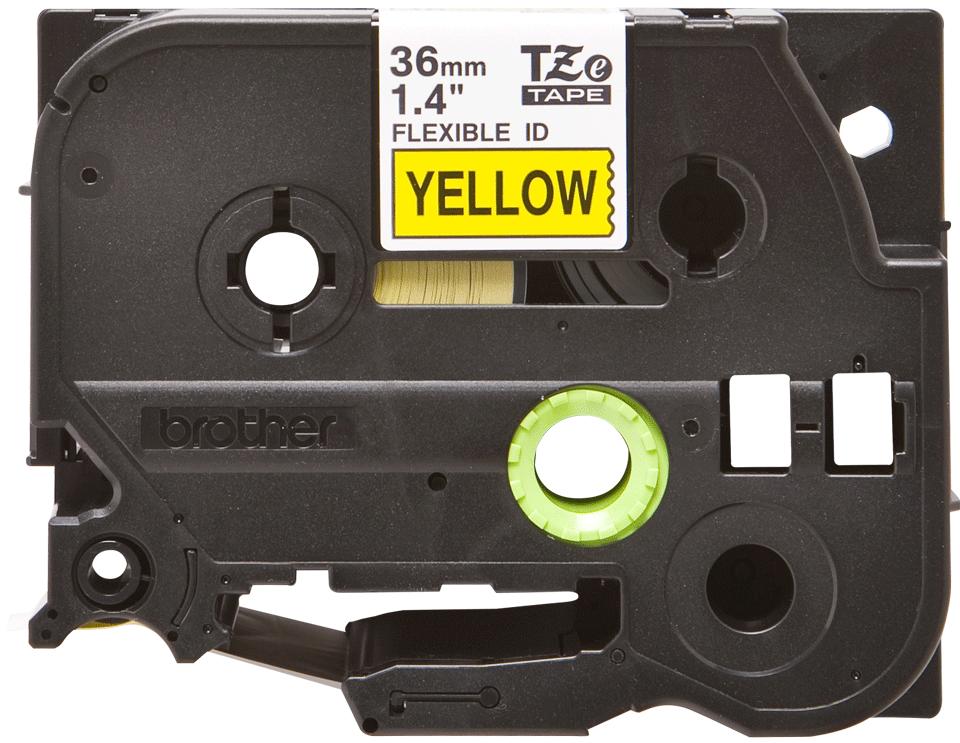 Originální kazeta s páskou Brother TZe-FX661 - černý tisk na žluté, šířka 36 mm