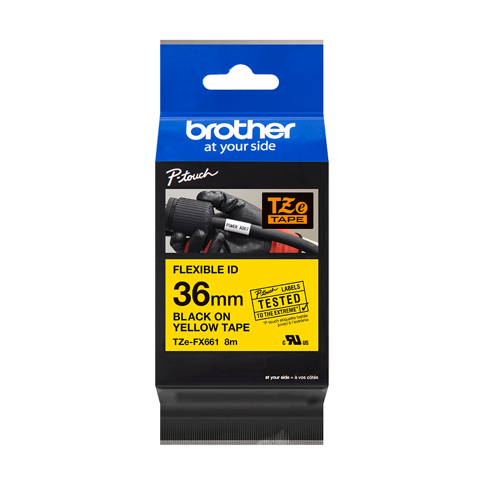 Originální kazeta s páskou Brother TZe-FX661 - černý tisk na žluté, šířka 36 mm 2