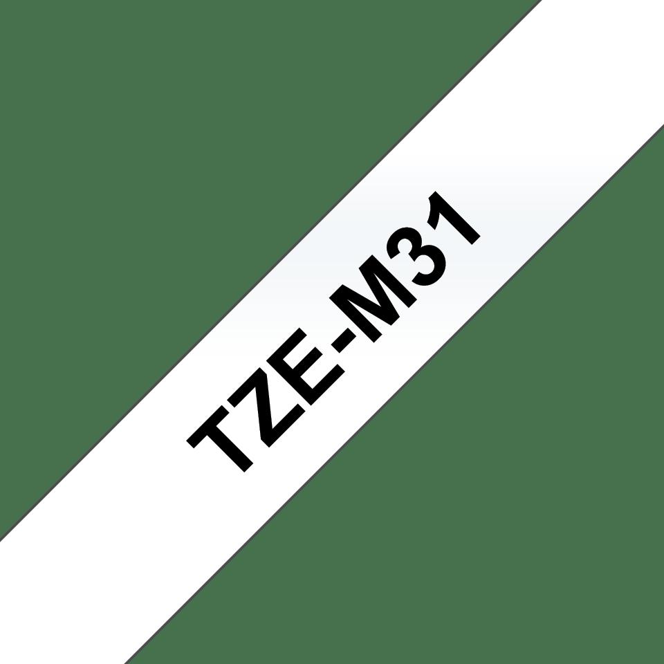 Originální pásková kazeta pro tisk štítků Brother TZeM31 – matná páska, černý tisk na čirém podkladu, šířka 12 mm 3
