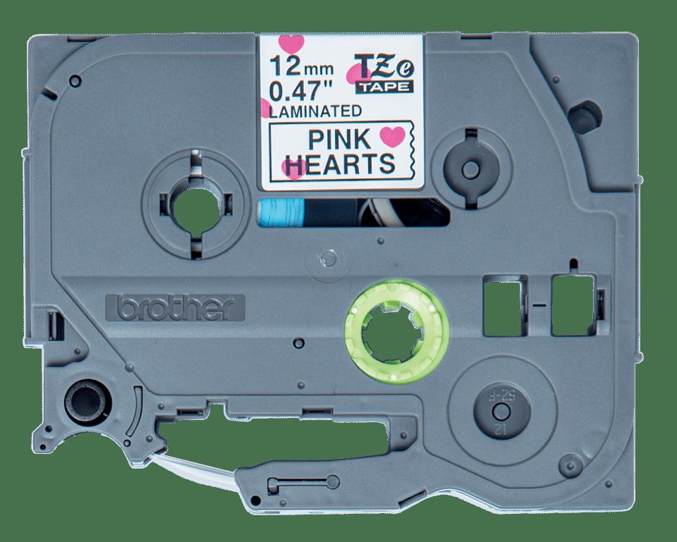 Originální kazeta s páskou Brother TZe-MPPH31 - černý tisk na růžových srdíčkách, šířka12 mm