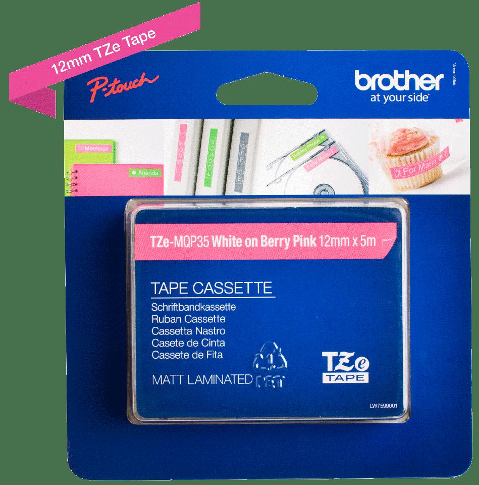 Originální kazeta s páskou Brother TZe-MQP35 - bílý tisk na růžové, šířka 12 mm 3