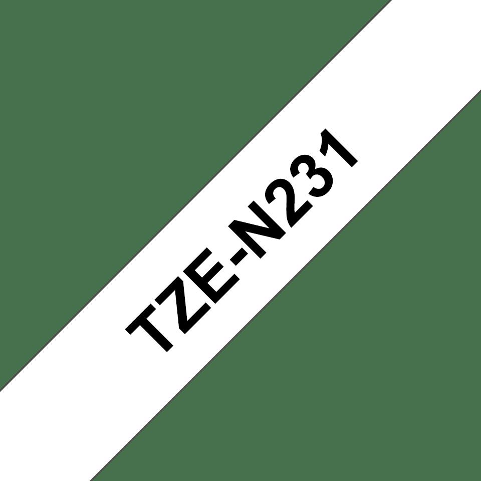 Originální kazeta s páskou Brother TZe-N231 - černý tisk na bílé, šířka 12 mm