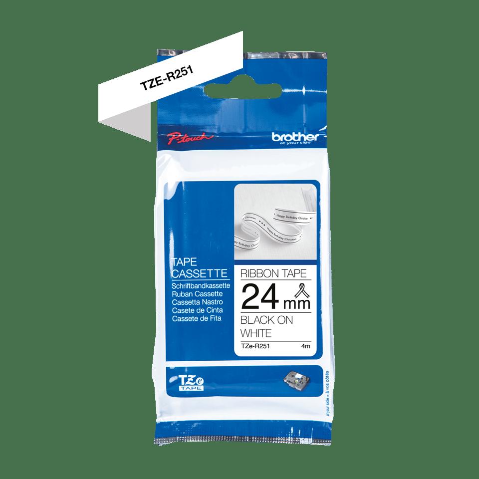 Originální pásková kazeta Brother TZe-R251 - černý tisk na bílé, šířka 24 mm 2