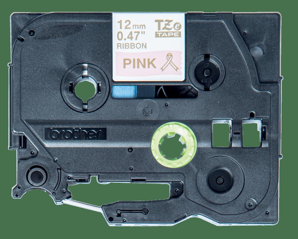 Originální kazeta Brother TZe-RE34 - zlatá na růžové, šířka 12 mm