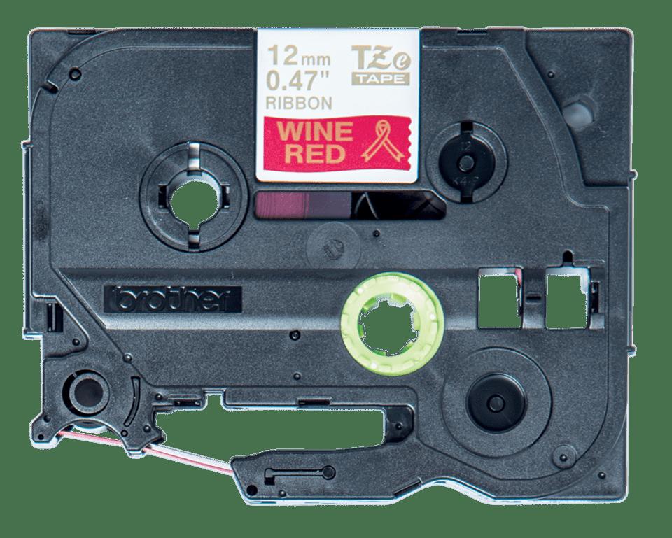 Originální kazeta Brother TZe-RW34 - zlatá na vínově červené, šířka 12 mm 2