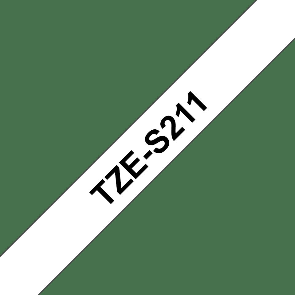 Originální kazeta s páskou Brother TZe-S211 - černý tisk na bílé, šířka 6 mm 3