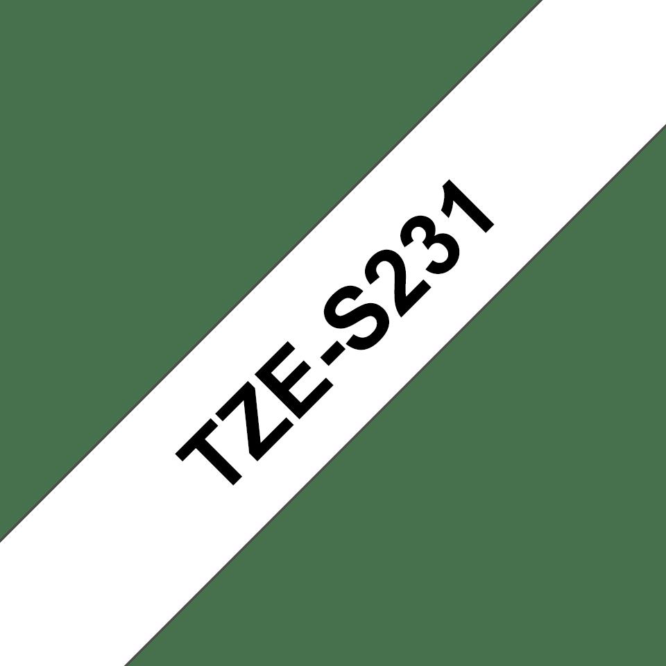 Originální kazeta s páskou Brother TZe-S231 - černý tisk na bílé, šířka 12 mm 3